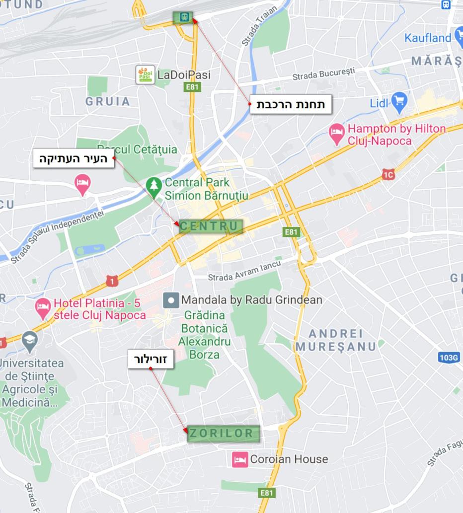 מפת אזורי הלינה של קלוז'-נאפוקה