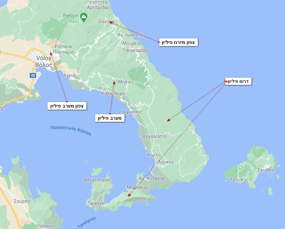 מפת האזורים המומלצים למלונות ולטיול בפיליון